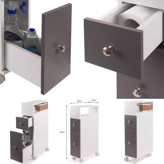 Meuble rangement WC sur roulettes 2 tiroirs gris Meubles et...