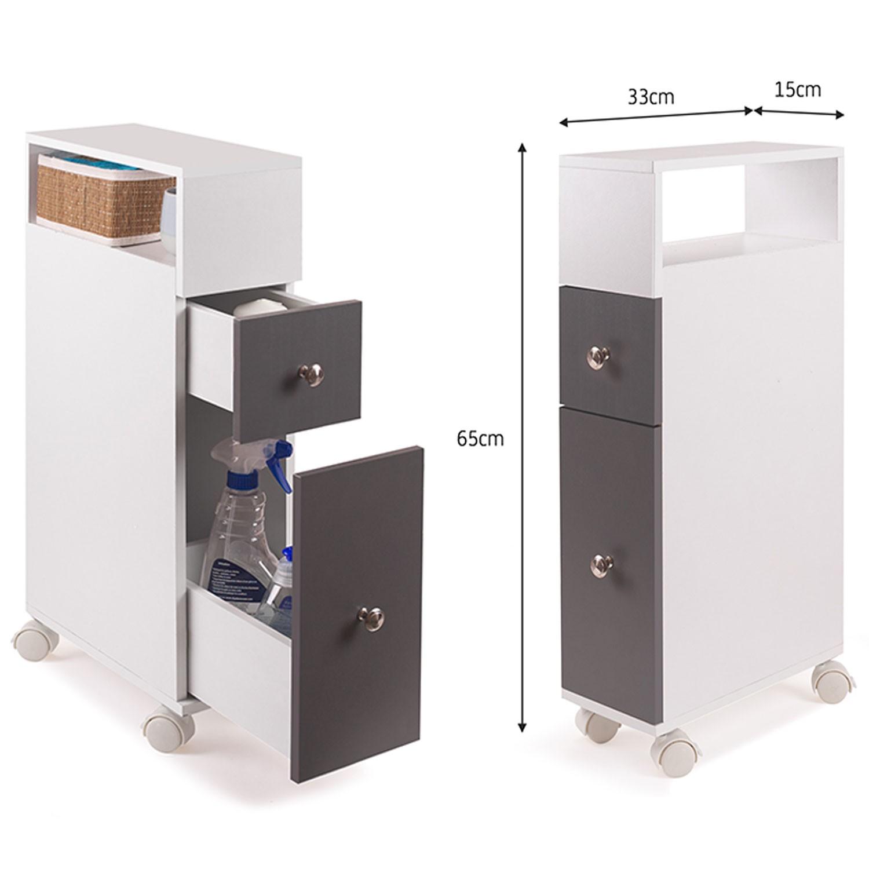Meuble rangement WC sur roulettes 2 tiroirs gris Meubles et aménag...