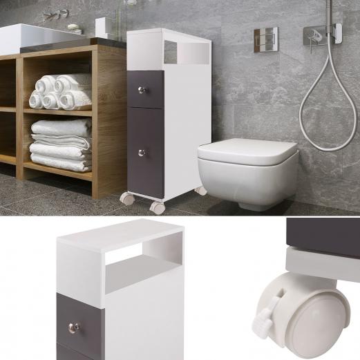 Meuble rangement wc sur roulettes 2 tiroirs gris meubles et - Meuble bas sur roulette ...