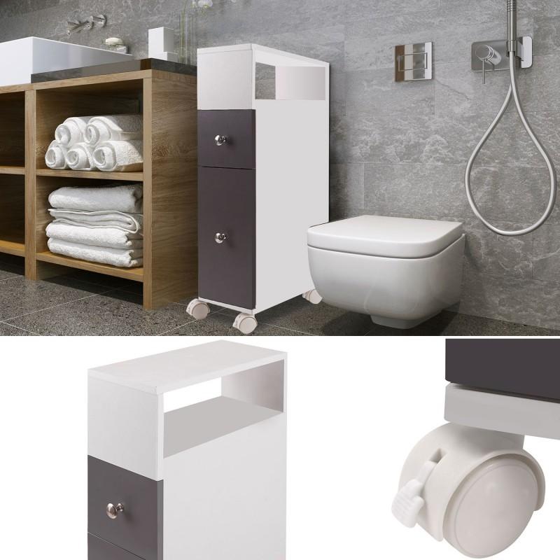 meuble rangement wc sur roulettes 2 tiroirs gris meubles. Black Bedroom Furniture Sets. Home Design Ideas