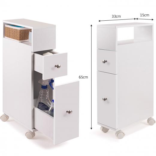 Meuble rangement wc sur roulettes 2 tiroirs blanc meubles for Petit meuble wc