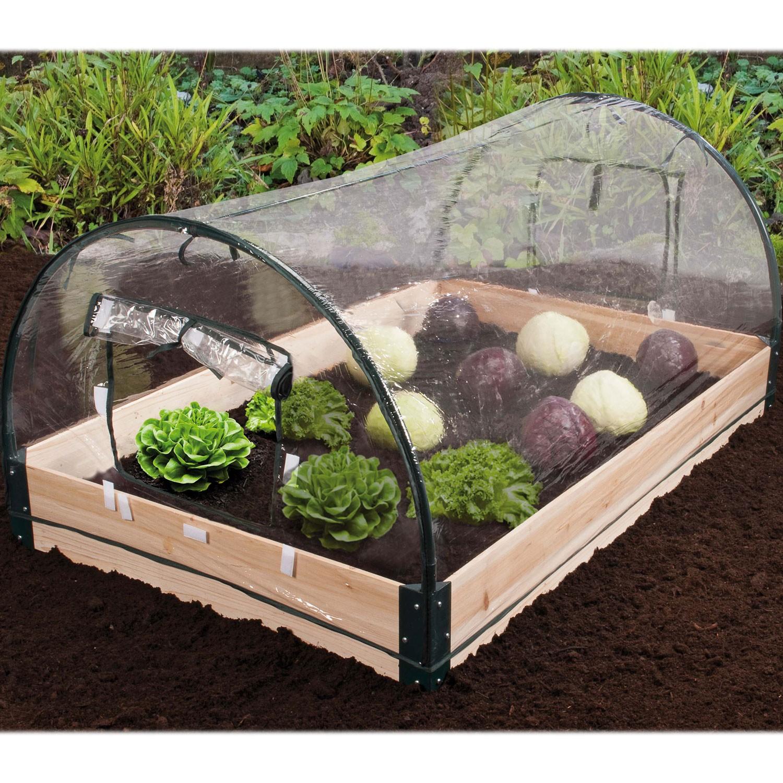Carr potager avec ch ssis bois serre housse amovible for Carre de jardin en bois