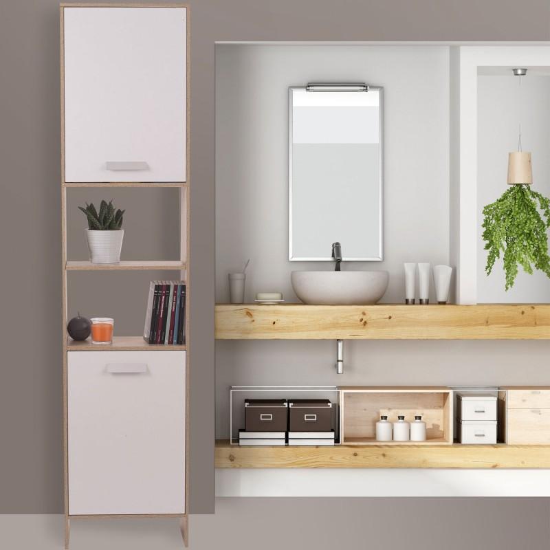 Meuble colonne salle de bain en bois design h tre portes for Porte meuble salle de bain bois