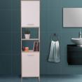 Meuble colonne salle de bain en bois design blanc portes hêtre