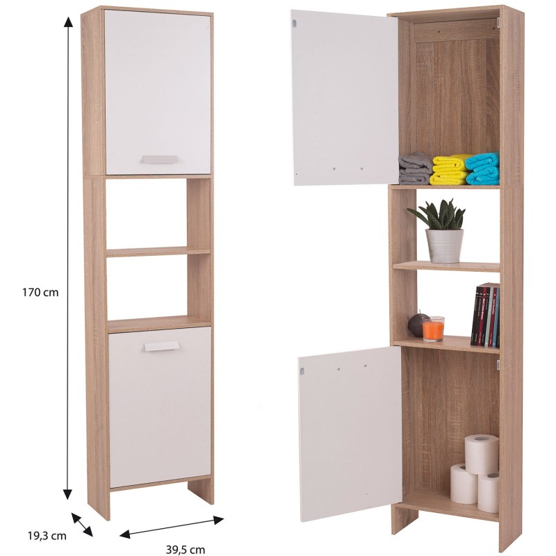 Meuble colonne salle de bain en bois design h tre portes for Meuble colonne