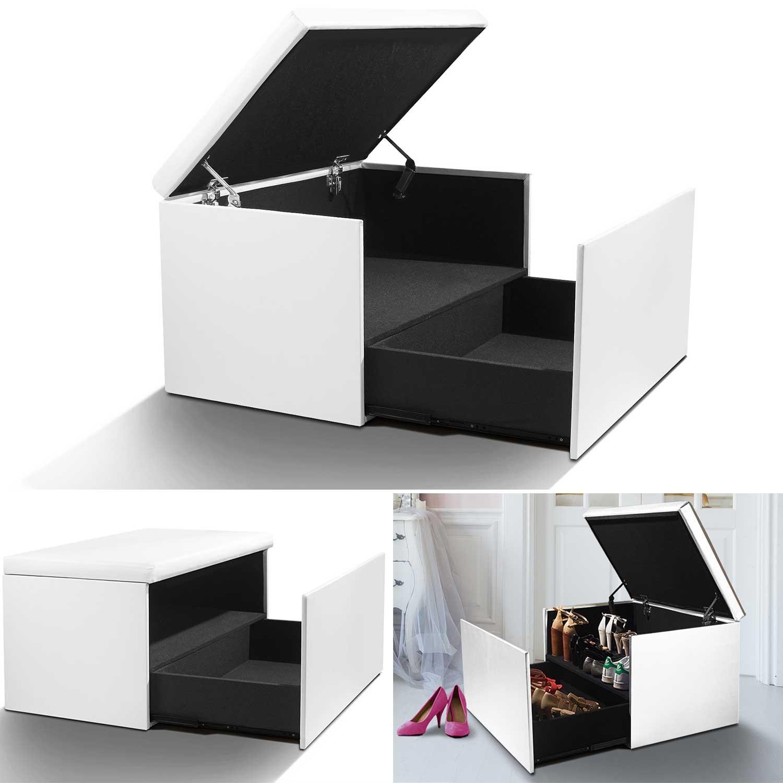 Coffre rangement banquette luxe blanc spécial chaussures Accessoir...
