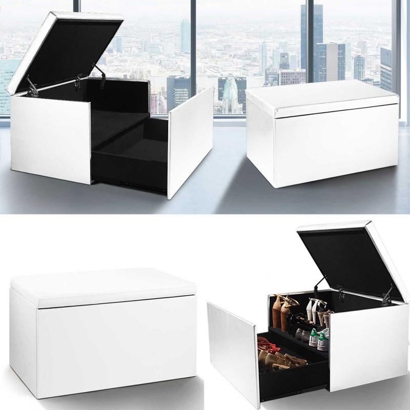 Coffre rangement banquette luxe blanc sp cial chaussures meubles - Jeux de rangement de maison de luxe ...
