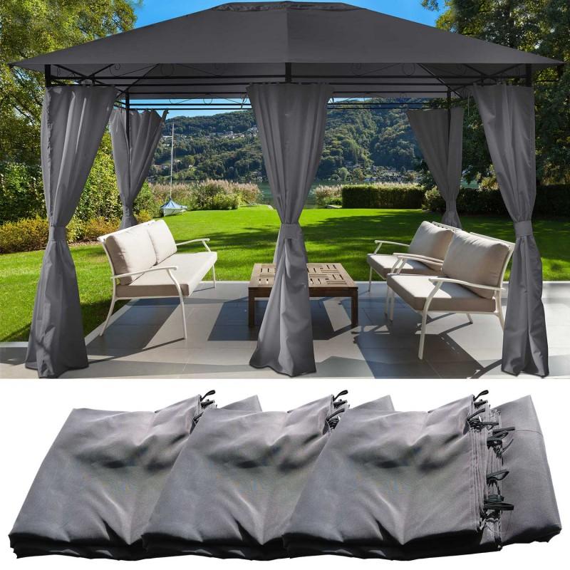 jeu de 6 rideaux gris pour tonnelle gloria 3 x 4 m. Black Bedroom Furniture Sets. Home Design Ideas