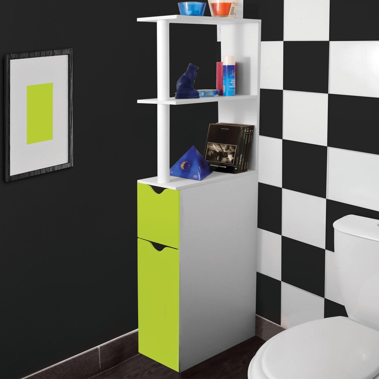 Meuble wc tag re bois gain de place pour toilette 2 portes vertes - Meuble pour les toilettes ...