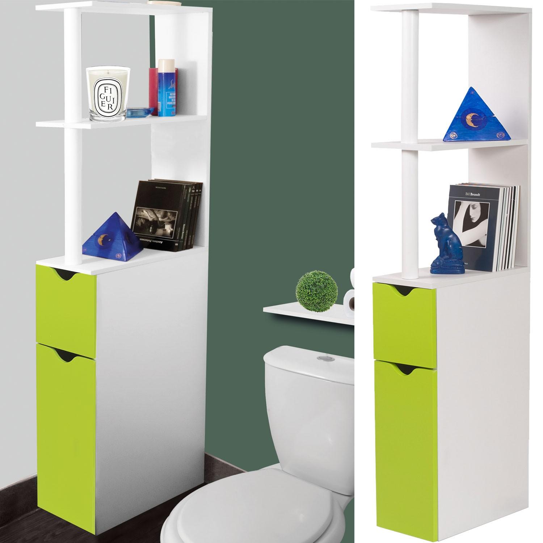Gain De Place Meuble meuble wc étagère bois gain de place pour toilette 2 portes vertes