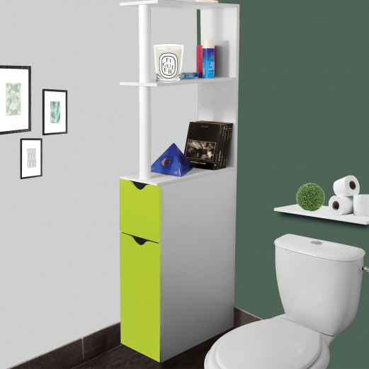 Meuble wc tag re bois gain de place pour toilette 2 portes vertes - Etagere porte assiettes gain de place ...