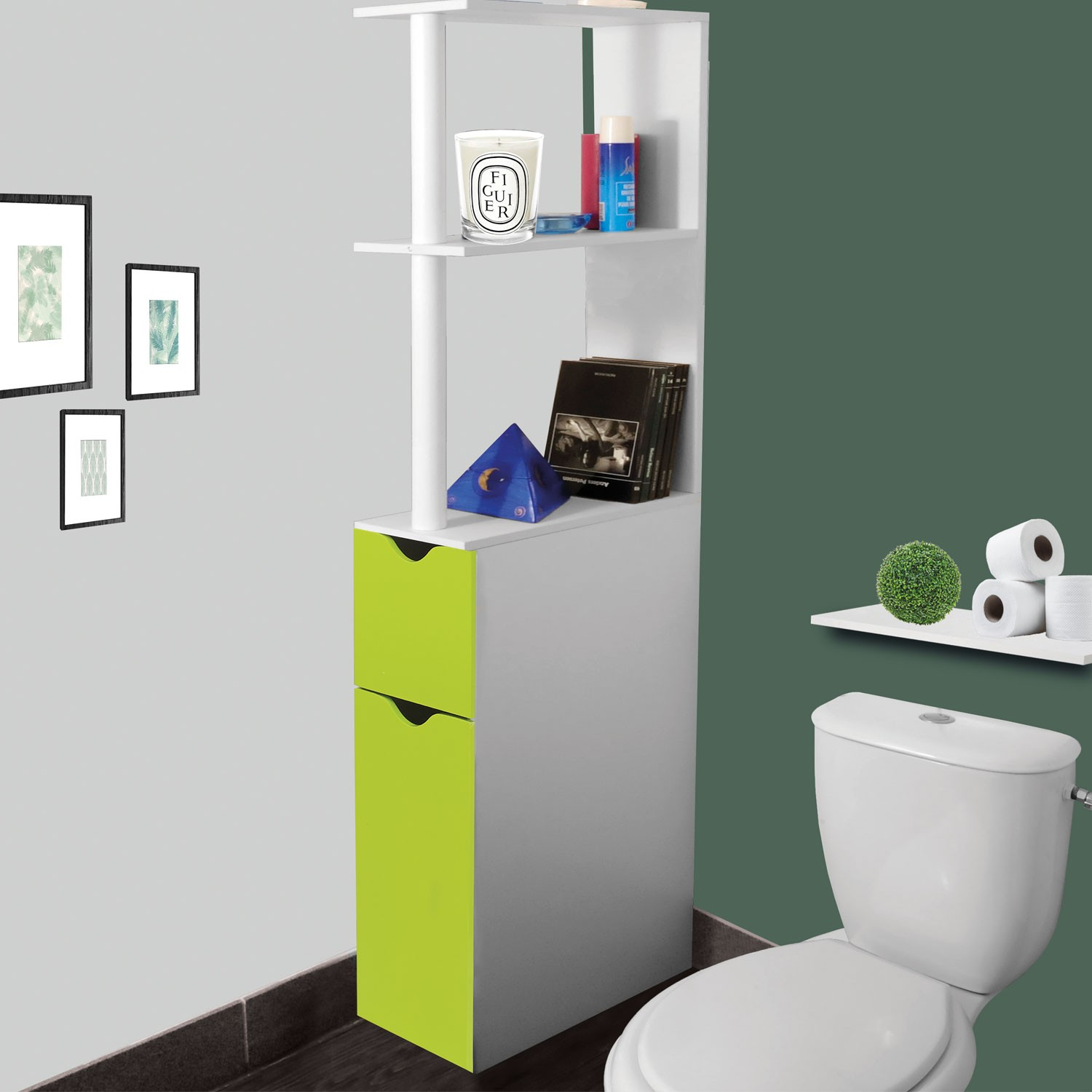 meuble wc tag re bois gain de place pour toilette 2 portes vertes. Black Bedroom Furniture Sets. Home Design Ideas
