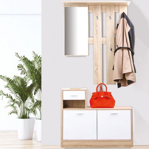 vestiaire d 39 entr e avec miroir design h tre portes. Black Bedroom Furniture Sets. Home Design Ideas