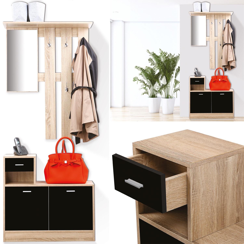 vestiaire d 39 entr e avec miroir design h tre portes noires meubles. Black Bedroom Furniture Sets. Home Design Ideas