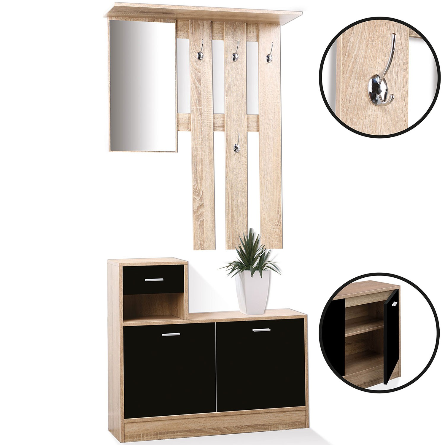 vestiaire d 39 entr e avec miroir design h tre portes noires meubles. Black Bedroom Furniture Sets. Home Design Ideas