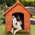 Niche pour chien en bois avec toit incliné ouvrant