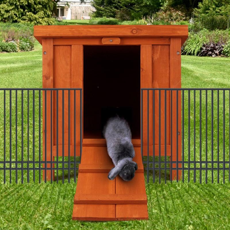 Clapier pour lapins et rongeurs en bois avec porte animalerie for Construire cabane lapin
