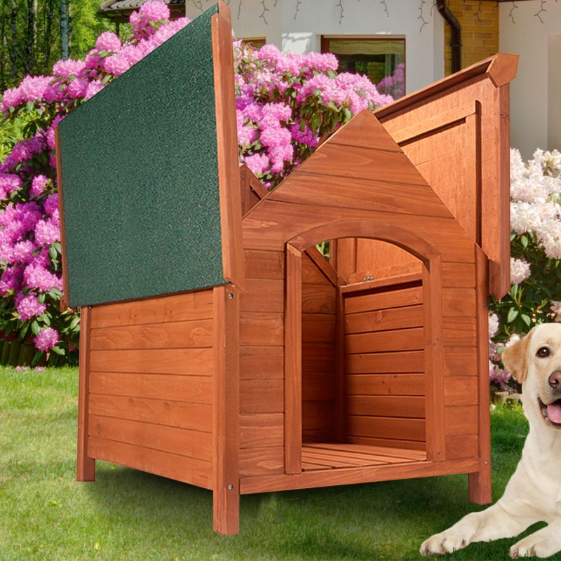 niche pour chien en bois avec toit inclin ouvrant ebay. Black Bedroom Furniture Sets. Home Design Ideas