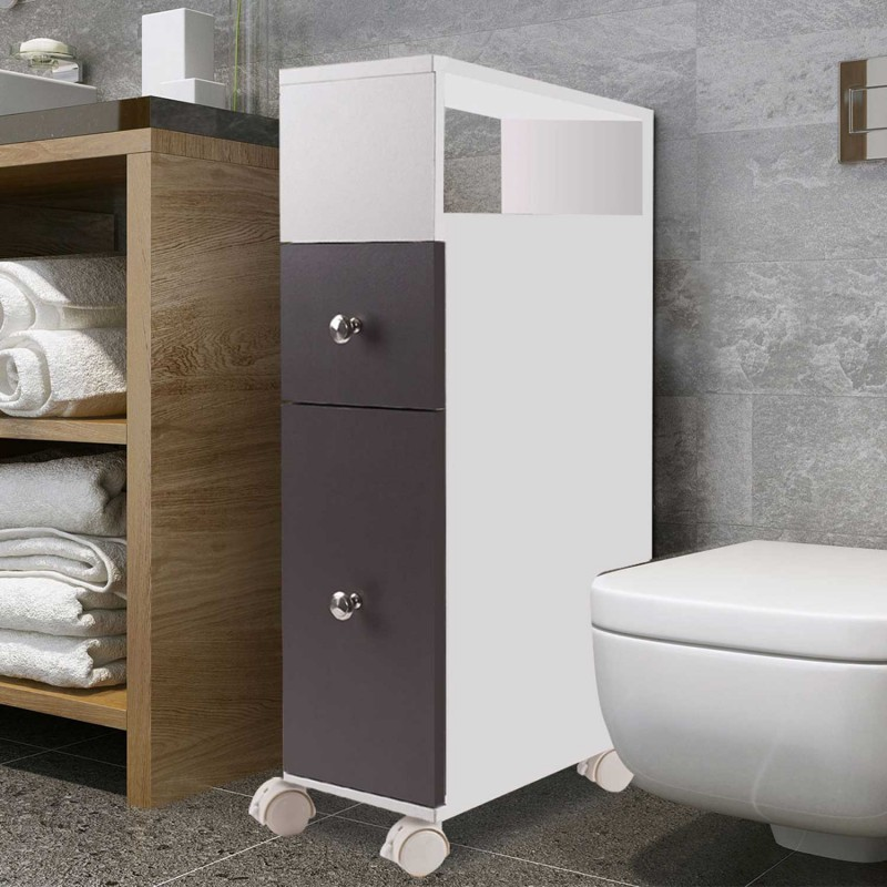 meuble rangement wc sur roulettes 2 tiroirs gris ebay. Black Bedroom Furniture Sets. Home Design Ideas