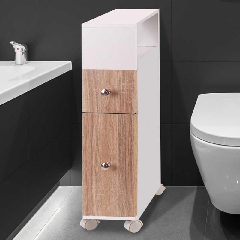 Meuble rangement wc sur roulettes 2 tiroirs h tre ebay for Meuble rangement tres etroit