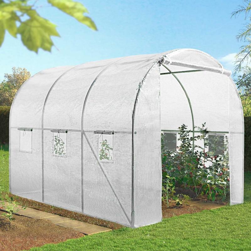 Serre de jardin tunnel 6m blanche acier galvanis serres for Serre de jardin outiror