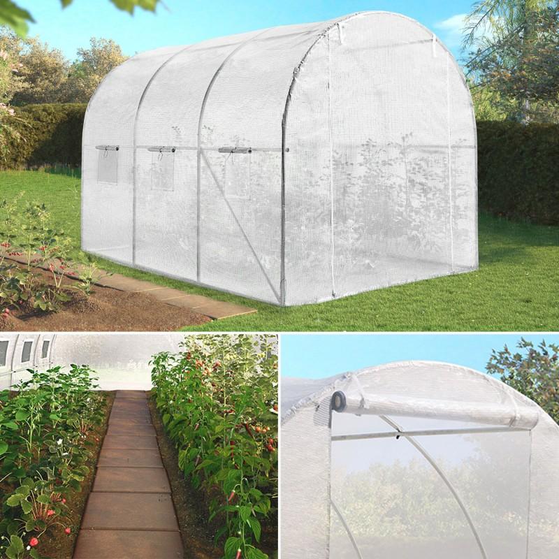 Serre de jardin tunnel 6m blanche acier galvanis ebay - Serre de jardin tunnel x m galvanise ...