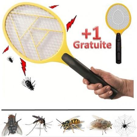 raquette lectrique tue mouches moustiques gu pes insectes 1 gratuite. Black Bedroom Furniture Sets. Home Design Ideas