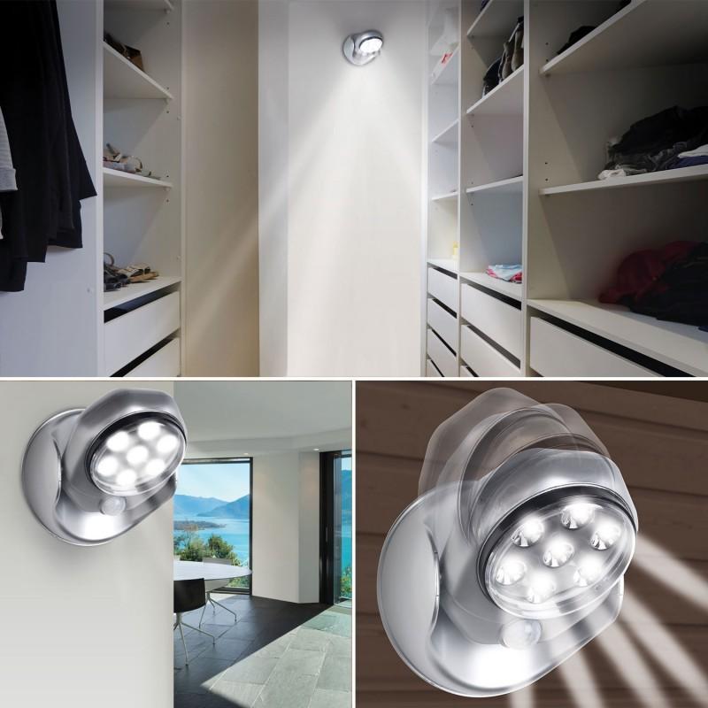 lampe 7 leds d tecteur de mouvement orientable 360 degr s eclair. Black Bedroom Furniture Sets. Home Design Ideas