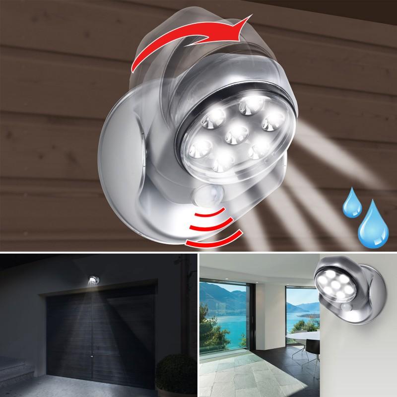 lampe 7 leds d tecteur de mouvement orientable 360. Black Bedroom Furniture Sets. Home Design Ideas