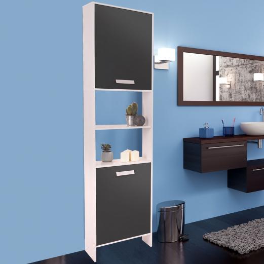 meuble colonne salle de bain design en bois blanc portes grises me. Black Bedroom Furniture Sets. Home Design Ideas