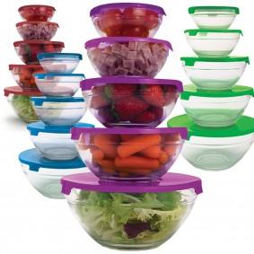 20 bols de conservation en verre+20 couvercles 4 coloris hermétiques
