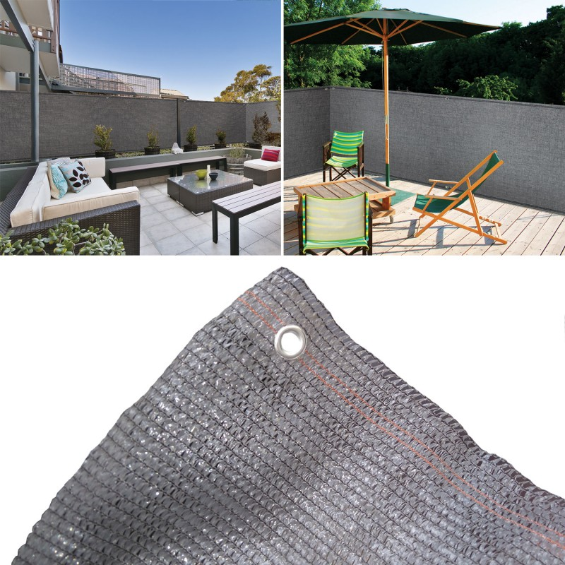 brise vue gris 1 8 x 10 m 90 gr m classique brise vues et. Black Bedroom Furniture Sets. Home Design Ideas