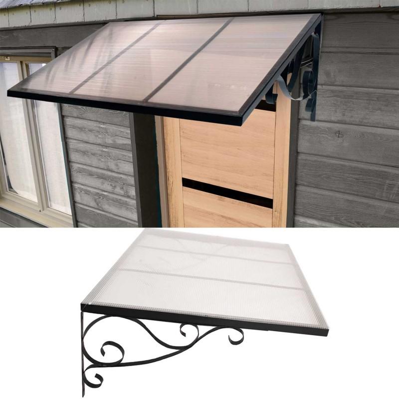 Auvent marquise de porte en fer design r tro 80x150 cm d coration - Construire un auvent de porte ...