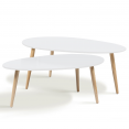 Set x2 tables basses gigognes design scandinave blanc