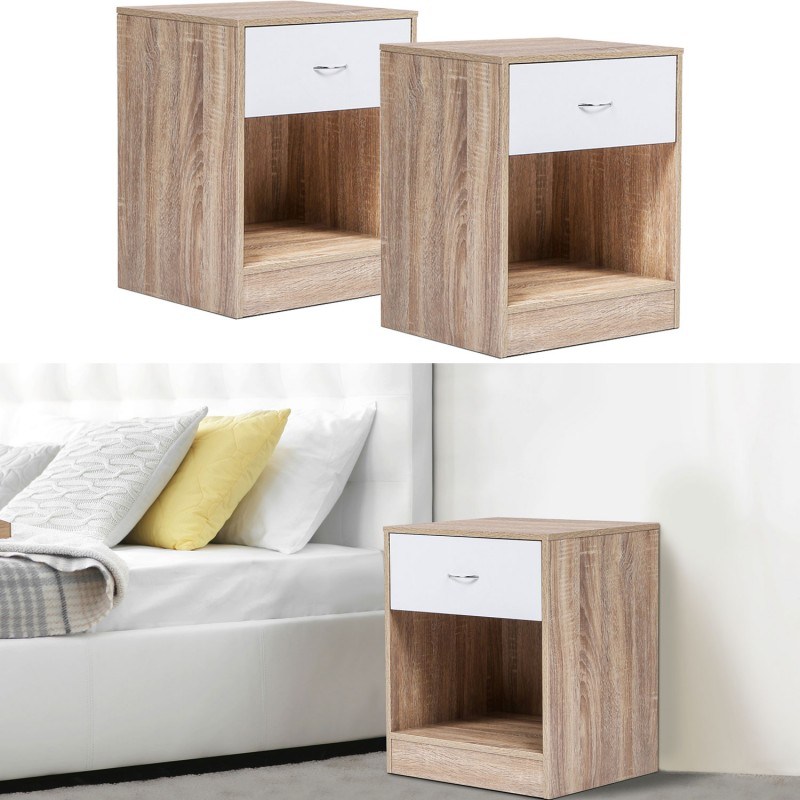 lot de 2 tables de chevet bois fa on h tre tiroir blanc meubles et. Black Bedroom Furniture Sets. Home Design Ideas