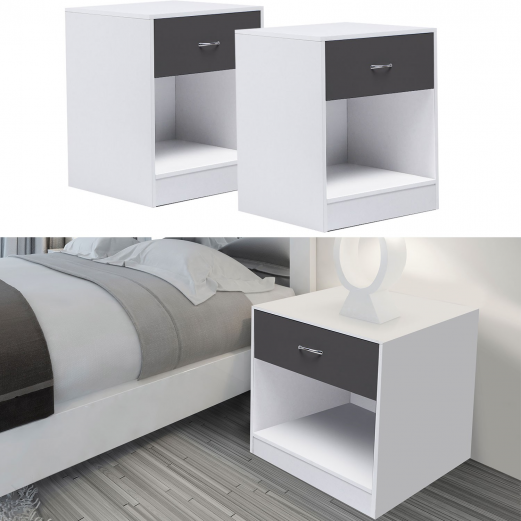 lot de 2 tables de chevet bois blanches tiroir gris. Black Bedroom Furniture Sets. Home Design Ideas