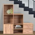 Meuble de rangement en escalier 3 niveaux bois façon hêtre avec porte et tiroirs