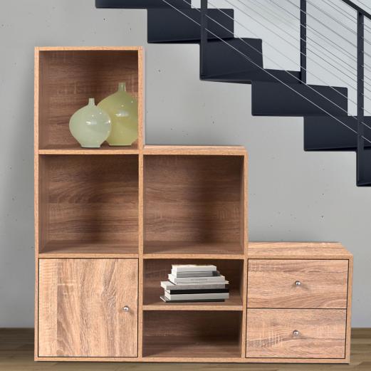 Meuble De Rangement Escalier Niveaux Bois Façon Hêtre Avec Porte - Porte meuble