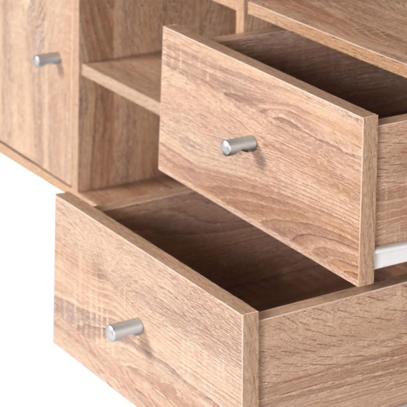 Meuble de rangement escalier 3 niveaux bois fa on h tre for Meuble avec nombreux tiroirs