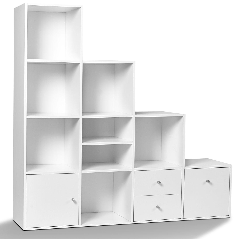meuble de rangement escalier 4 niveaux bois blanc avec porte et tir. Black Bedroom Furniture Sets. Home Design Ideas
