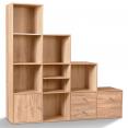 Meuble de rangement en escalier 4 niveaux bois façon hêtre avec porte et tiroirs