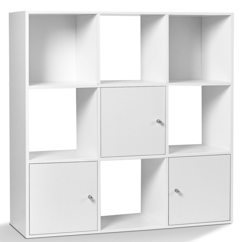 meuble de rangement cube 9 cases bois blanc avec 3 portes. Black Bedroom Furniture Sets. Home Design Ideas