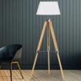 Lampadaire trepied bois réglable avec abat-jour écru