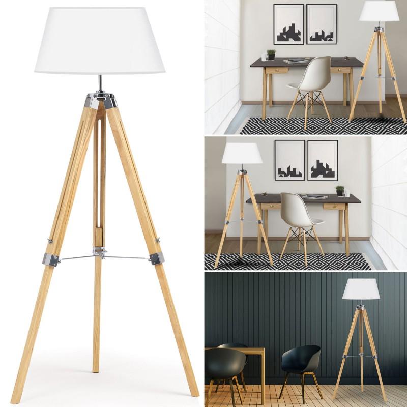 lampadaire trepied bois r glable blanc meubles et am nagement. Black Bedroom Furniture Sets. Home Design Ideas