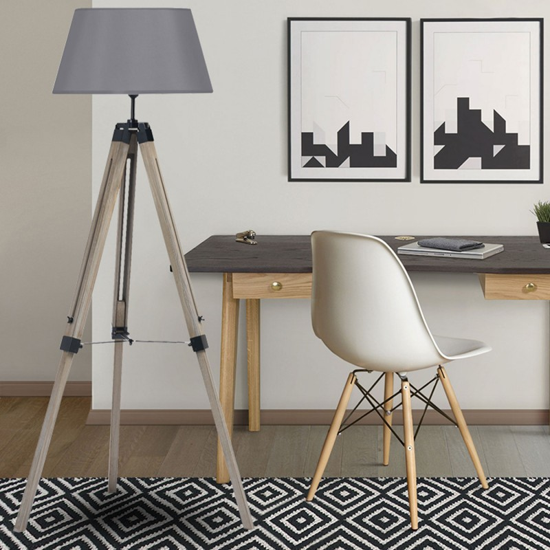 lampadaire trepied bois great lampadaire trepied bois et metal noir with lampadaire trepied. Black Bedroom Furniture Sets. Home Design Ideas