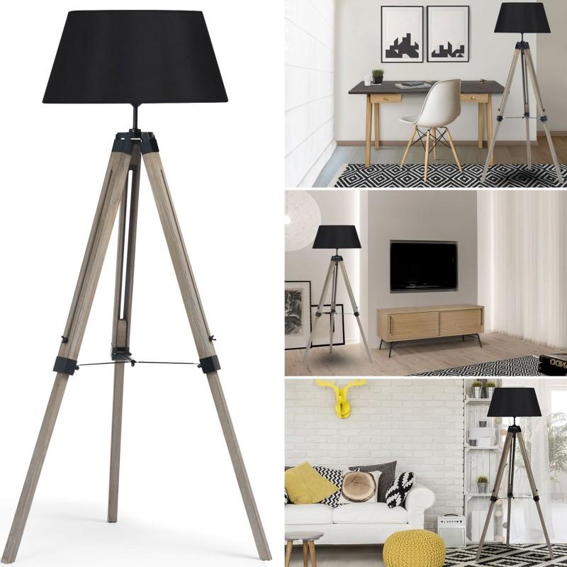 lampadaire trepied bois r glable noir meubles et am nagement. Black Bedroom Furniture Sets. Home Design Ideas