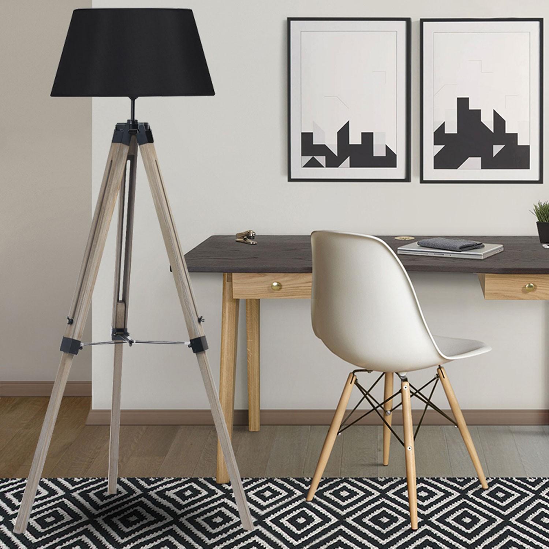 lampadaire tr pied bois clair et abat jour blanc pas cher. Black Bedroom Furniture Sets. Home Design Ideas