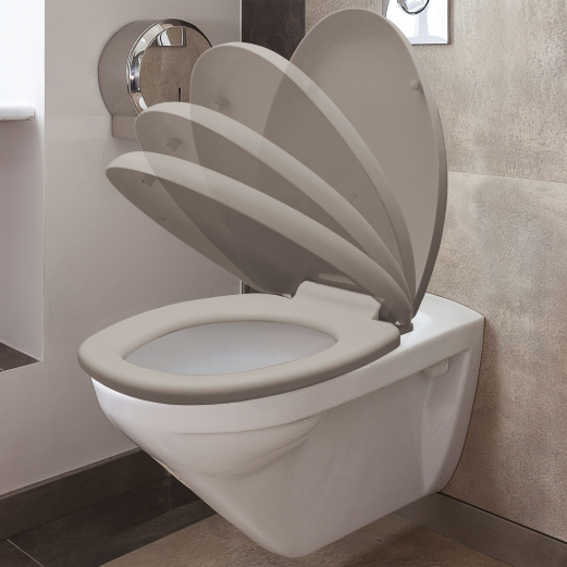 Abattant WC taupe avec frein de chute intégré