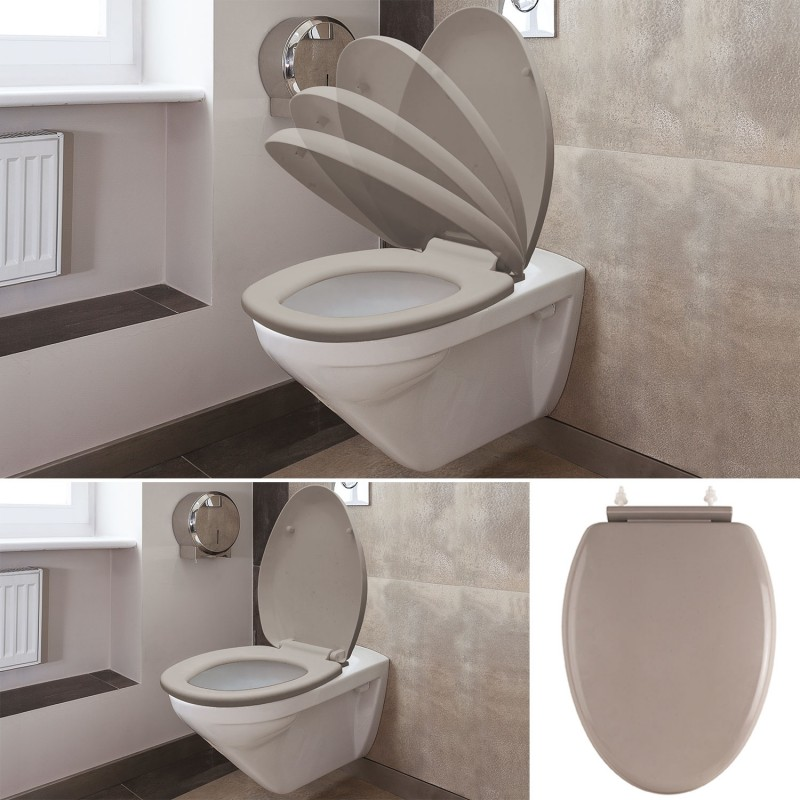 abattant wc taupe avec frein de chute int gr linge et entretien d. Black Bedroom Furniture Sets. Home Design Ideas