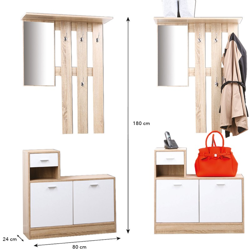 vestiaire d 39 entr e avec miroir design h tre portes blanches meuble. Black Bedroom Furniture Sets. Home Design Ideas